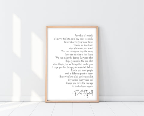 For What It's Worth | F. Scott Fitzgerald Print | Ollie + Hank