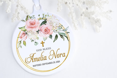 Gift For Goddaughter | Floral Blessing Baptism Ornament