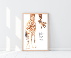 Giraffe Wall Art For Nursery | Hello Little One Print | Ollie + Hank