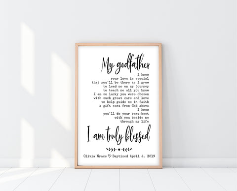 Godfather Poem | Godfather Baptism Gift | Ollie + Hank