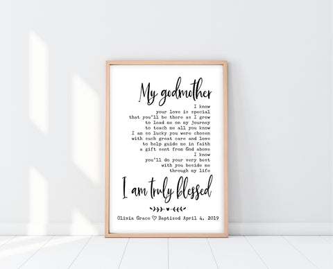Godmother Poem | Godmother Baptism Gift | Ollie + Hank