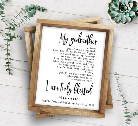 Godmother Poem | Christening Gift | Godmother Gift