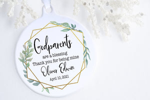 Godparent Baptism Gift | Godparent Christmas Ornament | Ollie + Hank