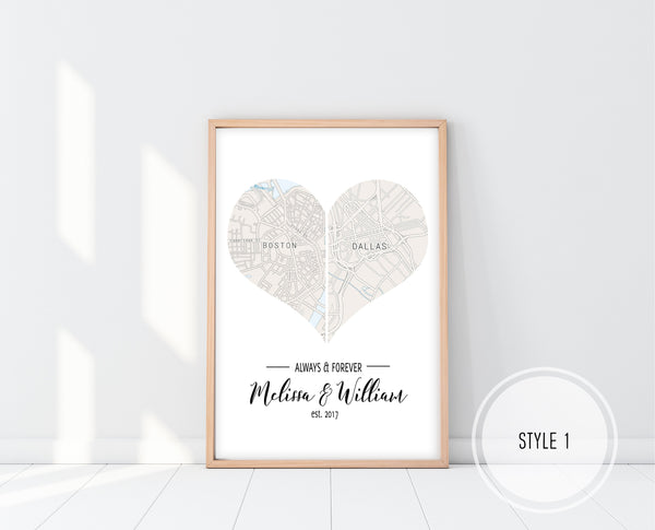 Heart Map Printable | Unique Wedding Gift Ideas | Ollie + Hank