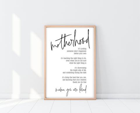 Inspiring Motherhood Quote Print | Ollie + Hank