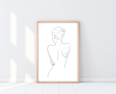 Modern Art For Bathroom | Woman's Back Line Drawing | Ollie + Hank