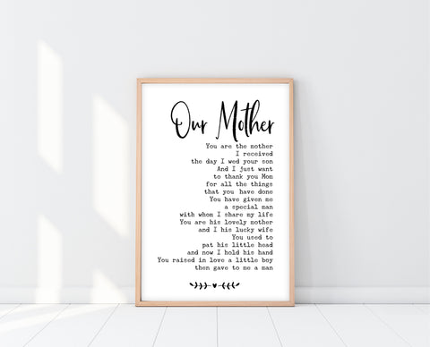 Mother Of The Groom Gift From Both | Our Mother Print | Ollie + Hank
