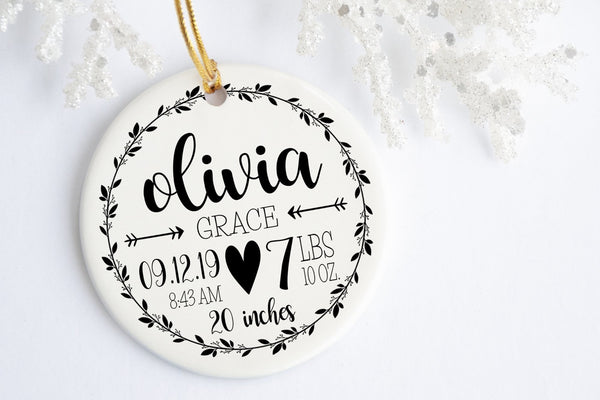 New Baby Christmas Ornament | Rustic Birth Stats Ornament | Ollie + Hank