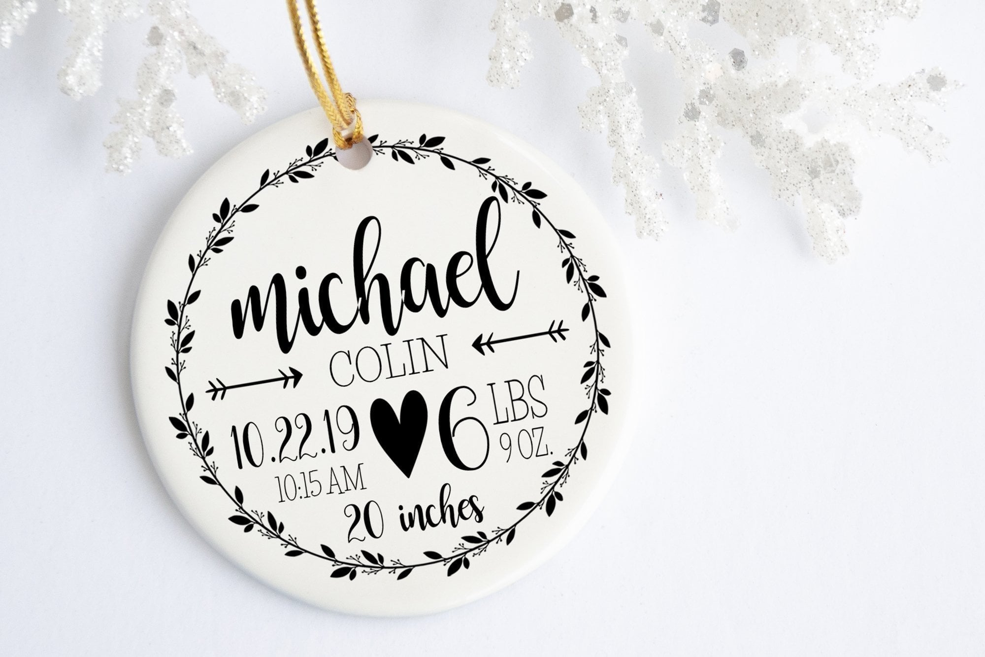 New Baby Ornament | Rustic Birth Stats Ornament | Ollie + Hank