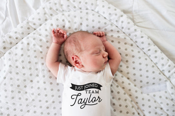 Newborn Boy Outfits Take Home | Just Joined Team Onesie | Ollie + Hank