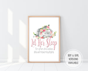 Nursery Wall Art Girl | Let Her Sleep For When She Wakes Print | Ollie + Hank