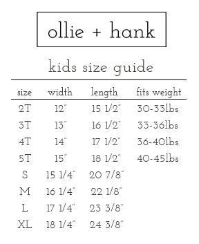Ollie + Hank Tshirt Size Guide