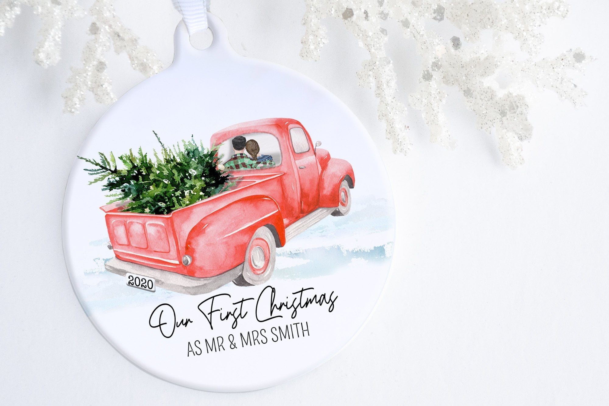 Ornament For First Christmas Married | Red Truck Ornament | Ollie + Hank