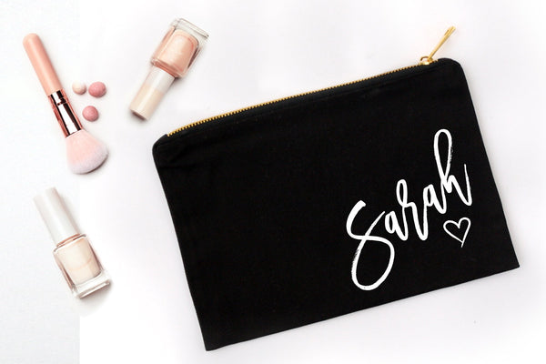 Personalized Bridesmaid Gifts Under $20 | Personalized Makeup Bag | Ollie + Hank