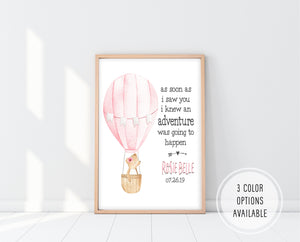 Personalized Baby Gift Canada | As Soon As I Saw You I Knew An Adventure Print | Ollie + Hank