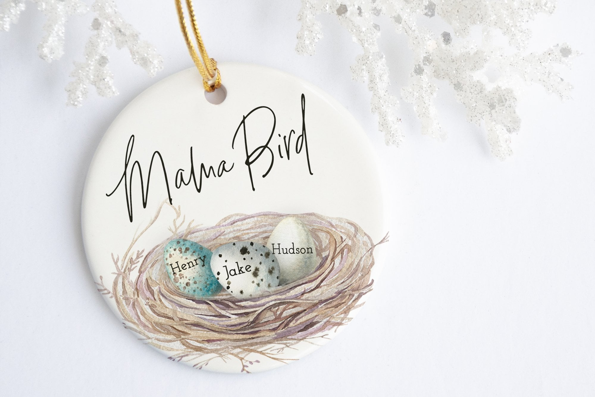 Personalized Gift For Mom | Mama Bird Ornament | Ollie + Hank
