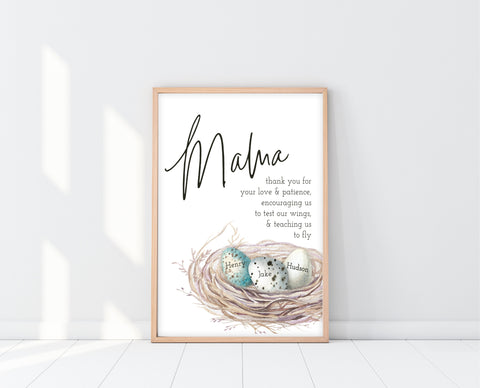 Personalized Mothers Day Gift | Mama Bird Nest Art | Ollie + Hank