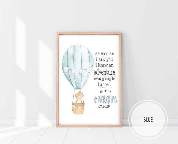 Personalized Nursery Decor | As Soon As I Saw You I Knew An Adventure Print | Ollie + Hank