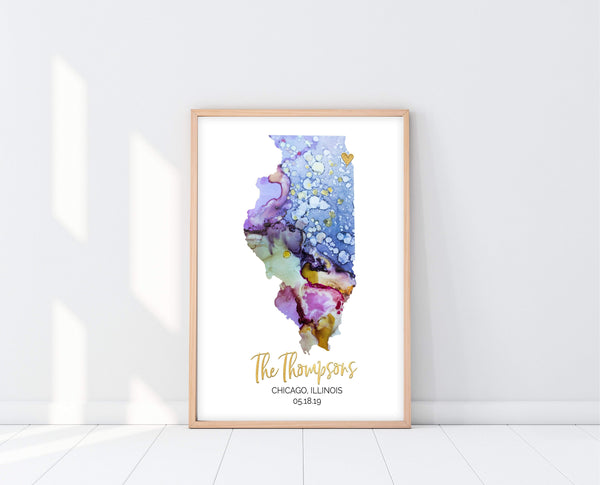 Personalized State Art | Watercolor Map | Ollie + Hank