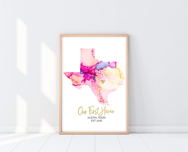 Personalized Wedding Date Gift | Watercolor Map | Ollie + Hank