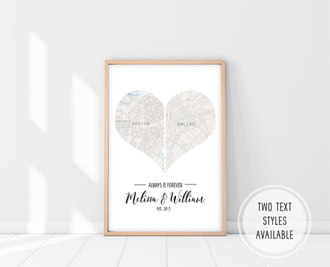 Personalized Wedding Gifts | Heart Map Print | Ollie + Hank