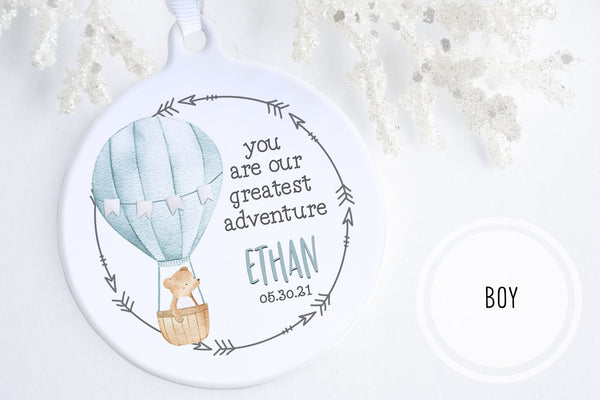 Personalized Baby Gift Canada | Our Greatest Adventure Ornament | Ollie + Hank