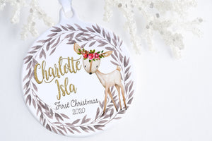 Personalized Baby's First Christmas Ornament | Woodland Deer Ornament | Ollie + Hank