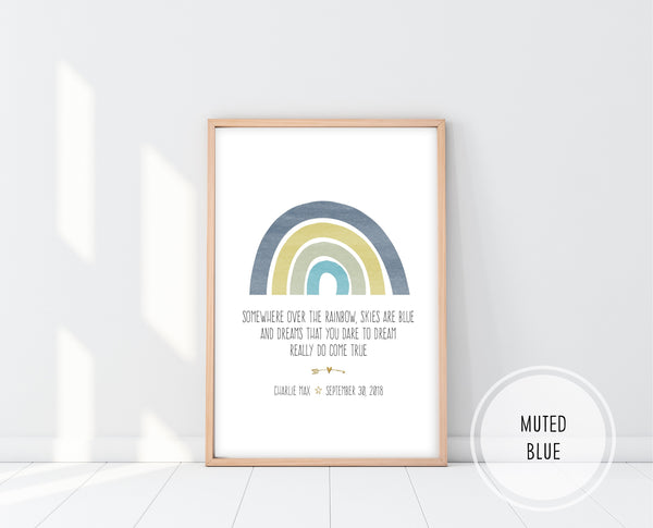 Rainbow Baby Nursery Art | Somewhere Over The Rainbow Print | Ollie + Hank