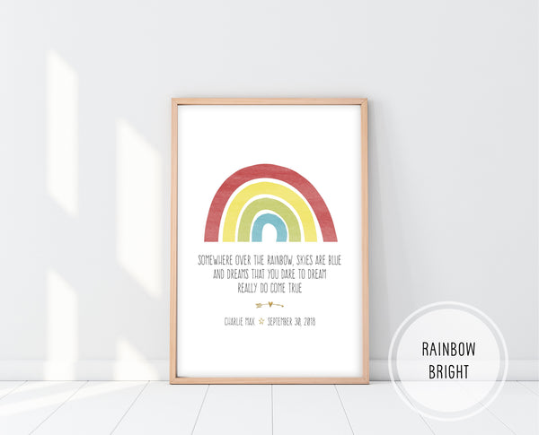 Rainbow Wall Art | Somewhere Over The Rainbow Print | Ollie + Hank