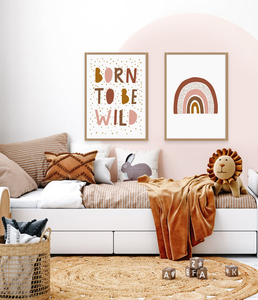 Rainbow Wall Art | Born To Be Wild Print Set | Ollie + Hank