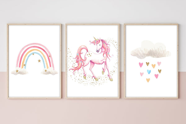 Unicorn Decor For Room | Unicorn Rainbow Print Set | Ollie + Hank