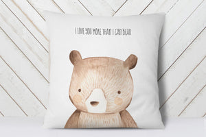 Woodland Animals Nursery Pillow | I Love You More Than I Can Bear | Ollie + Hank