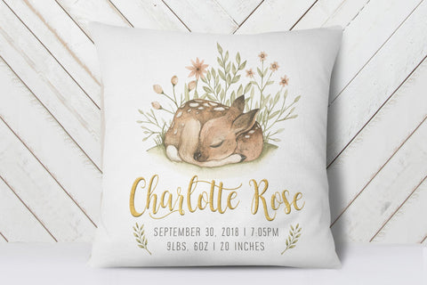 Woodland Decor For Nursery | Baby Deer Birth Stats Pillow | Ollie + Hank