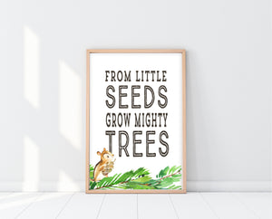 Woodland Nursery Decor | From Little Seeds Grow Mighty Trees | Ollie + Hank