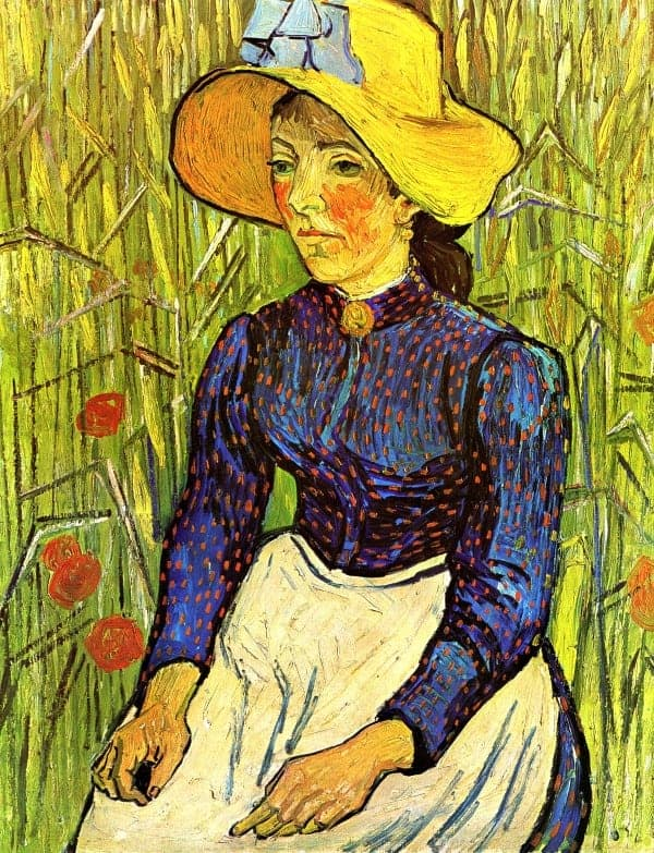 Young Peasant Woman with Straw Hat Sitting in the Wheat
