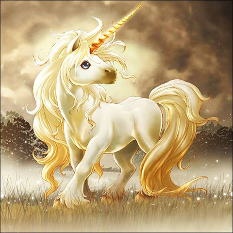 Diamantmalerei - Goldenes Einhorn - Floating Styles - Diamantstickerei - Malen mit Diamant