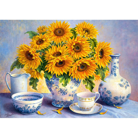 Diamond Painting - Sunflowers - Floating Style - Diamond Haft - Paint With Diamond