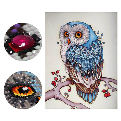 Image of Diamond Painting - Hibou Neigeux Magique - Styles Flottants - Broderie Diamant - Peindre avec un diamant