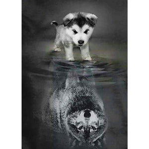 Diamantmalerei - Mut: Hund oder Wolf - Floating Styles - Diamantstickerei - Malen mit Diamant