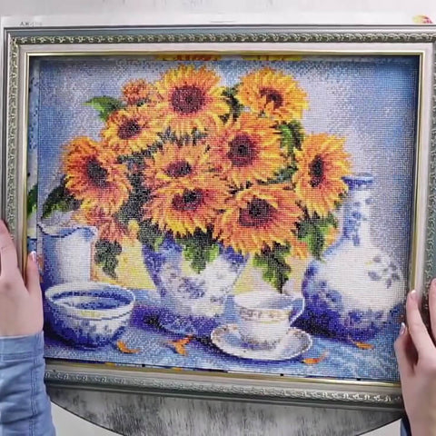 Image of Diamond Painting - Sunflowers - Floating Styles - Diamond Embroidery - Paint With Diamond