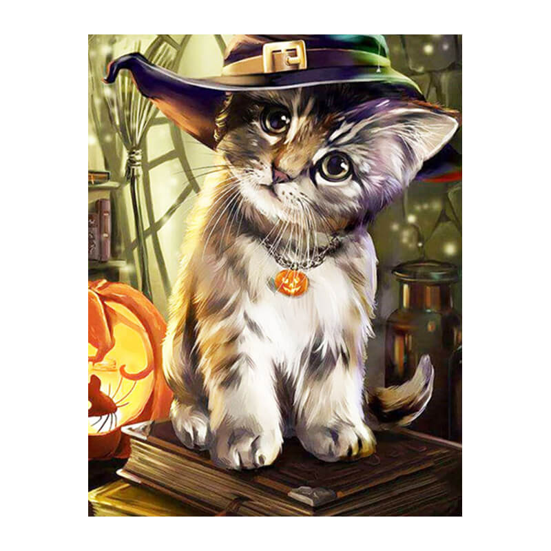 Diamond Painting - Cute Halloween Cat - Floating Styles - Diamond Embroidery - Paint With Diamond