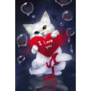 Diamond Painting - Cat: I Love You - Floating Styles - Diamond Embroidery - Paint With Diamond
