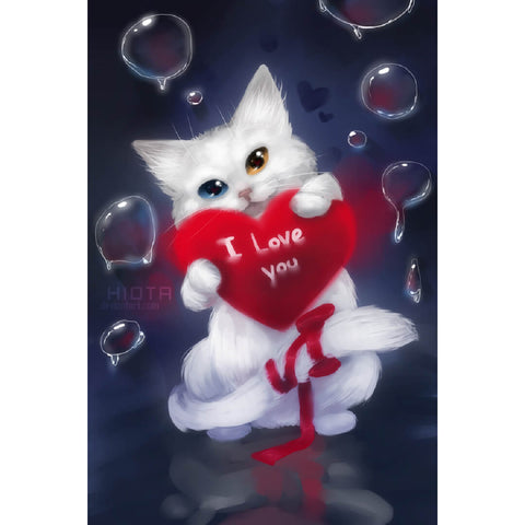 Image of Diamond Painting - Cat: I Love You - Floating Styles - Diamond Embroidery - Paint With Diamond