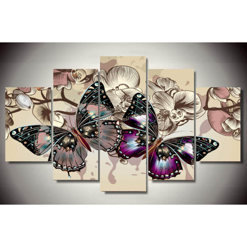 5 Panels Diamond Painting - Two Butterflies - Floating Style - Diamond Haft - Paint With Diamond