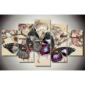 5 Panels Diamond Painting - Two Butterflies - Floating Styles - Diamond Embroidery - Paint With Diamond