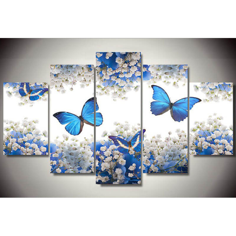 5 Panels Diamond Painting - Four Butterflies - Stili fluttuanti - Diamond Embroidery - Paint With Diamond