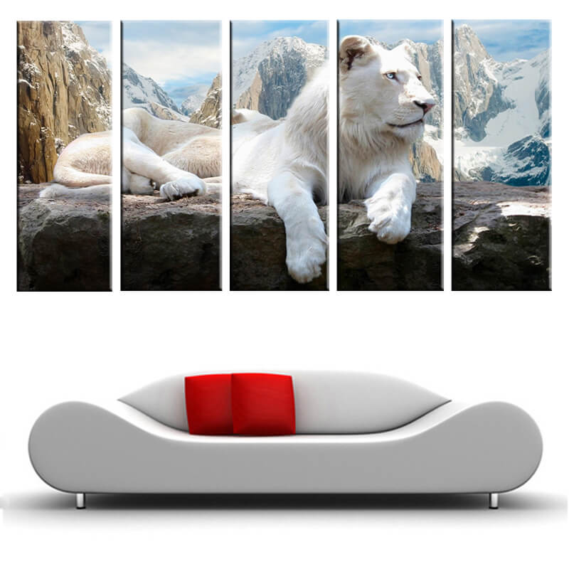 5 Panels Diamond Painting - A Snow Lion - Estilos flotantes - Bordado de diamantes - Pintura con diamante