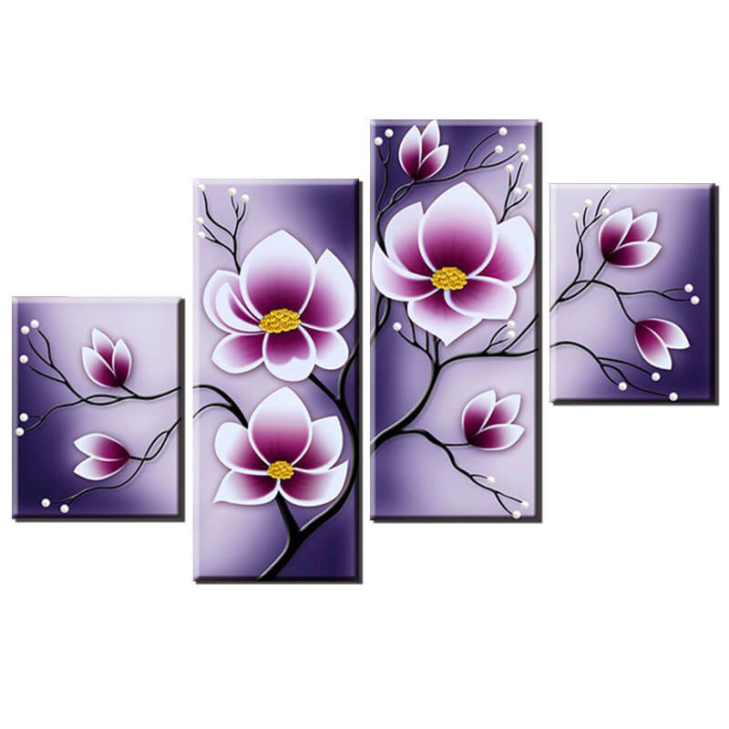 4 Painéis Diamond Painting - Tulip Flower - Estilos Flutuantes - Diamond Embroidery - Paint With Diamond
