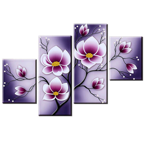 Obraz 4 Panels Diamond Painting - Tulip Flower - Floating Style - Diamond Haft - Paint With Diamond
