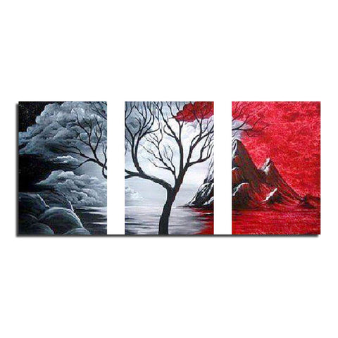 3 Panels Diamond Painting - Tree - Red & Black - Floating Styles - Diamond Embroidery - Paint With Diamond